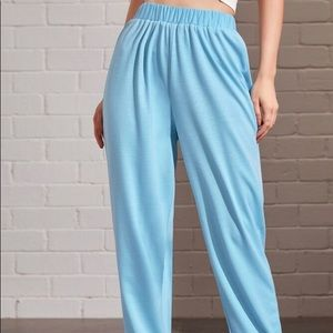 high waisted blue sweatpants